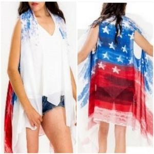 NEW American Flag Vest Kimono Cover Up